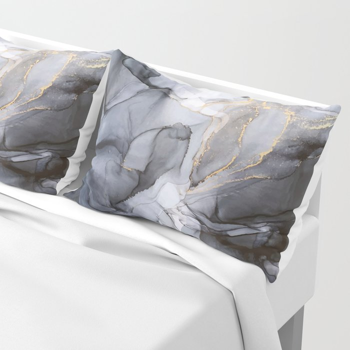 Calm but Dramatic Light Monochromatic Black & Grey Abstract Pillow Sham