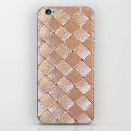 Vintage elegant coral faux gold satin weaved pattern iPhone Skin