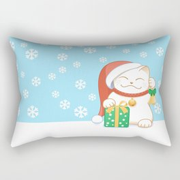 White Christmas Cat Rectangular Pillow