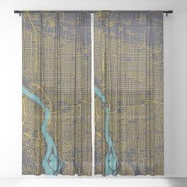 Portland, OR City Map, Yellow/Navy Sheer Curtain