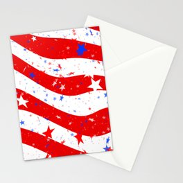 July 4th Celebration with Stars and Stripes of the USA Flag Stationery Cards