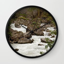 Mountain River Alpine Alps Mountains landscape Wall Clock