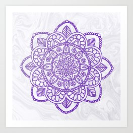 Purple Mandala on White Marble Art Print