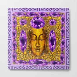 ART NOUVEAU AMETHYST PURPLE & GOLD BUDDHA ABSTRACT Metal Print