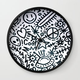 black and white graphics Wall Clock