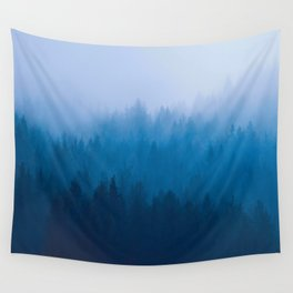 Blue Mountain Pine Trees Blue Ombre Gradient Colorful Landscape photo Wall Tapestry