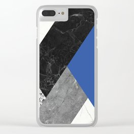 Black and White Marbles and Pantone Lapis Blue Color Clear iPhone Case