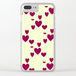 Diamond Hearts Clear iPhone Case
