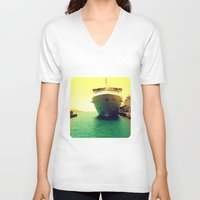boat V-neck T-shirts featuring Boat by chauloom