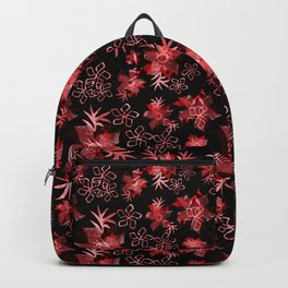 Fishnet red flowers on a black background. Backpack