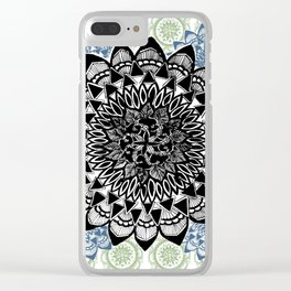 Light Green, Grey, and Black Muted Mandala Pattern Clear iPhone Case