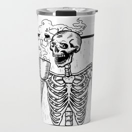 Skeleton Drinking a Cup of Coffee Travel Mug