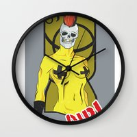 punk rock Wall Clocks featuring Punk rock Girl by Caetanorama Art Studio