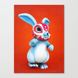 Lucha Rabbit-Blue Brother Canvas Print