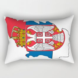Serbia Map with Serbian Flag Rectangular Pillow