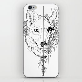 Wolf and Flowers iPhone Skin