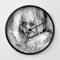 amy sia Wall Clocks featuring Sia by JenHoney