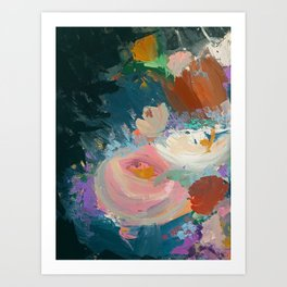 Sweet Nothings: a colorful floral abstract in pinks, reds, blues, and white Art Print