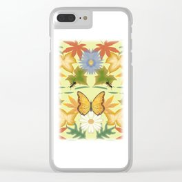 seamless pattern with leaves, flowers and insects Clear iPhone Case