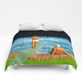Jump in clouds Comforters
