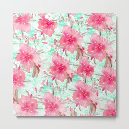 Hot pink turquoise hand painted watercolor floral Metal Print