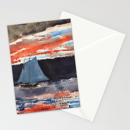 Winslow Homer1 - Schooner At Sunset - Digital Remastered Edition Stationery Cards