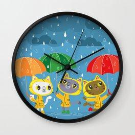 Rainy Day Kitty Cats Wall Clock