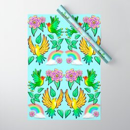 Birds Flowers and Rainbows Doodle Pattern Wrapping Paper