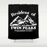 twin peaks Shower Curtains featuring Twin Peaks by Spyck