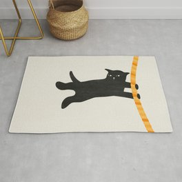 Black cat and rope Rug