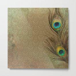 Vintage Peacock Feather Metal Print