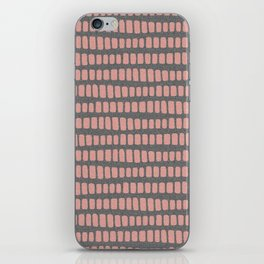 Dusty rose gold waves on grey charcoal faux glitter pattern iPhone Skin