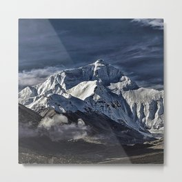Mount Everest from the north side view in China Metal Print