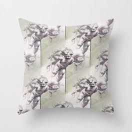 Cherubs & Clockwork Hearts Throw Pillow