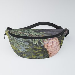 Pine Cone on Weathered Wood Fanny Pack