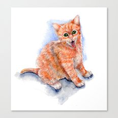 Happy Orange Kitten Canvas Print