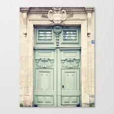 Paris door, grey aqua Canvas Print