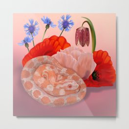Snek and Poppies Metal Print
