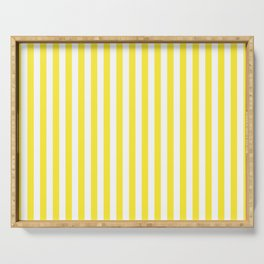 Summer Yellow and White Cabana Stripe Serving Tray