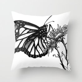 Monarch Butterfly by Sketchy Reputation Throw Pillow