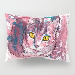 Cat Portrait, pink and purple shades, abstract acrylic painting Pillow Sham