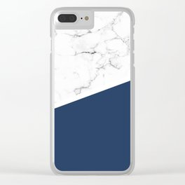 White Marble Navy Peony Clear iPhone Case