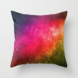 Cosmic Rainbow Flower Of life Tapestry Throw Pillow