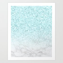 Pretty Turquoise Marble Sparkle Art Print