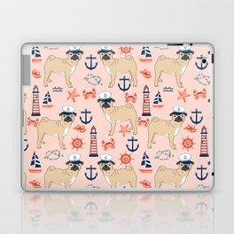 Pug nautical anchor sailing lighthouses dog breed pet portraits by pet friendly Laptop & iPad Skin