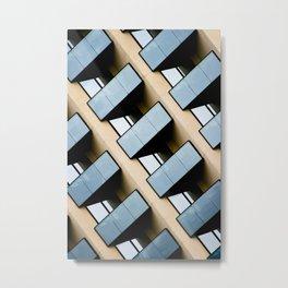 Beige and Aqua Blue Geometric Squares and Rectangles Architecture Florida Building Metal Print
