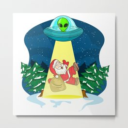 Santa Alien Abduction Metal Print