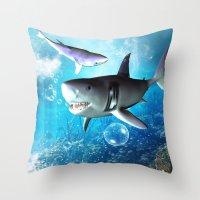 shark Throw Pillows featuring Shark by nicky2342