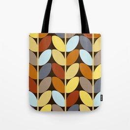 Retro 70s Color Palette Leaf Pattern Tote Bag