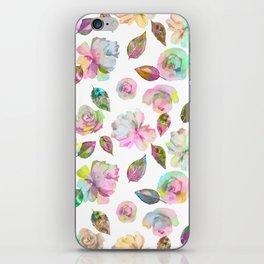 Modern elegant hand painted girly roses leaves pattern iPhone Skin